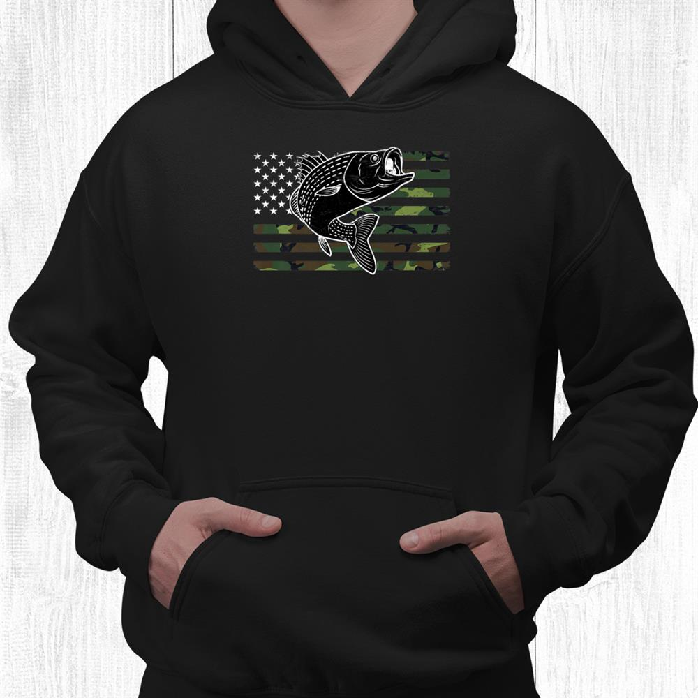 Fishing Camouflage Us Flag With Fish For Patriotic Fishermen Shirt