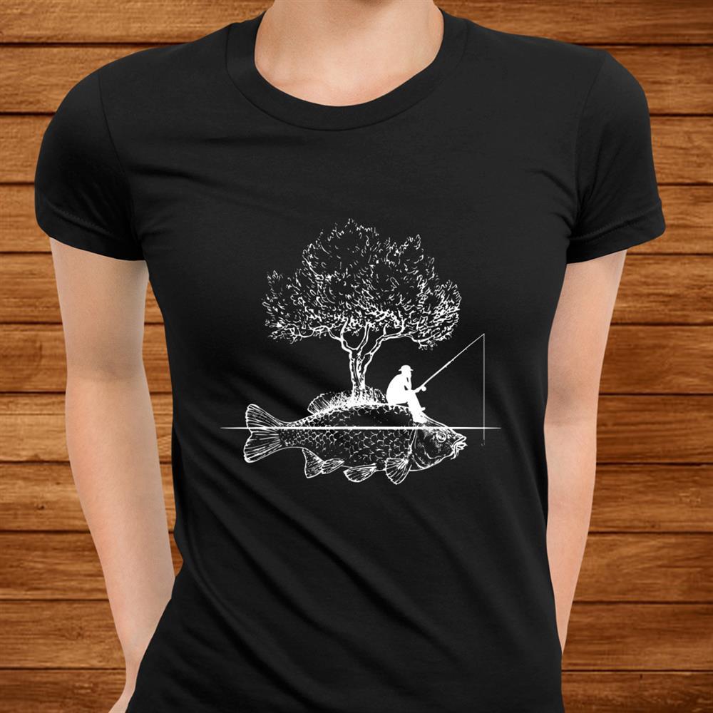 Fishing Fish Island Art Surreal Funny Carp Fisherman Shirt