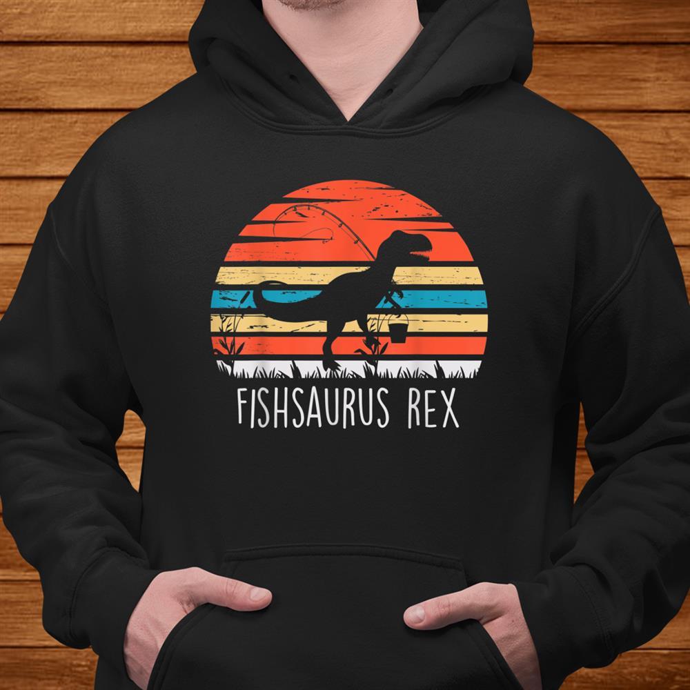 Fishing Shirt For Boys Fishsaurus T Rex Dinosaur Shirt