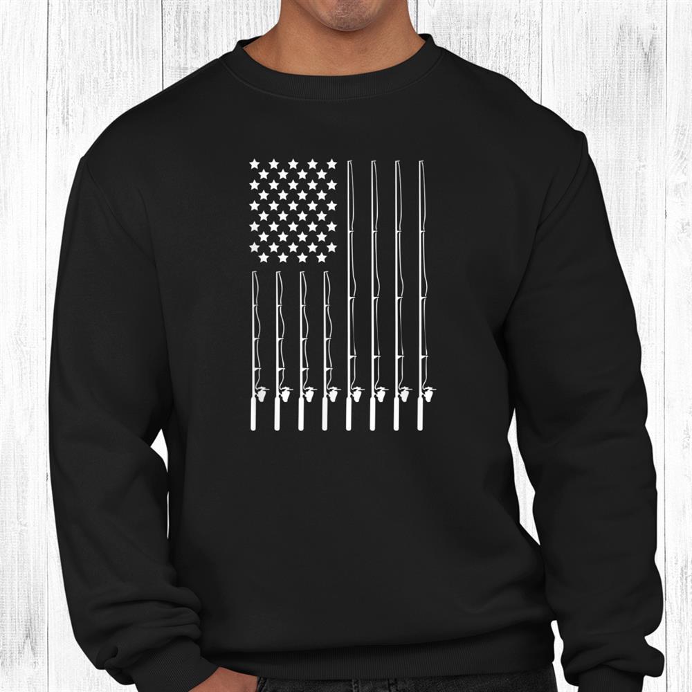 Fishing Pole American Flag Patriotic Outdoorsman Shirt