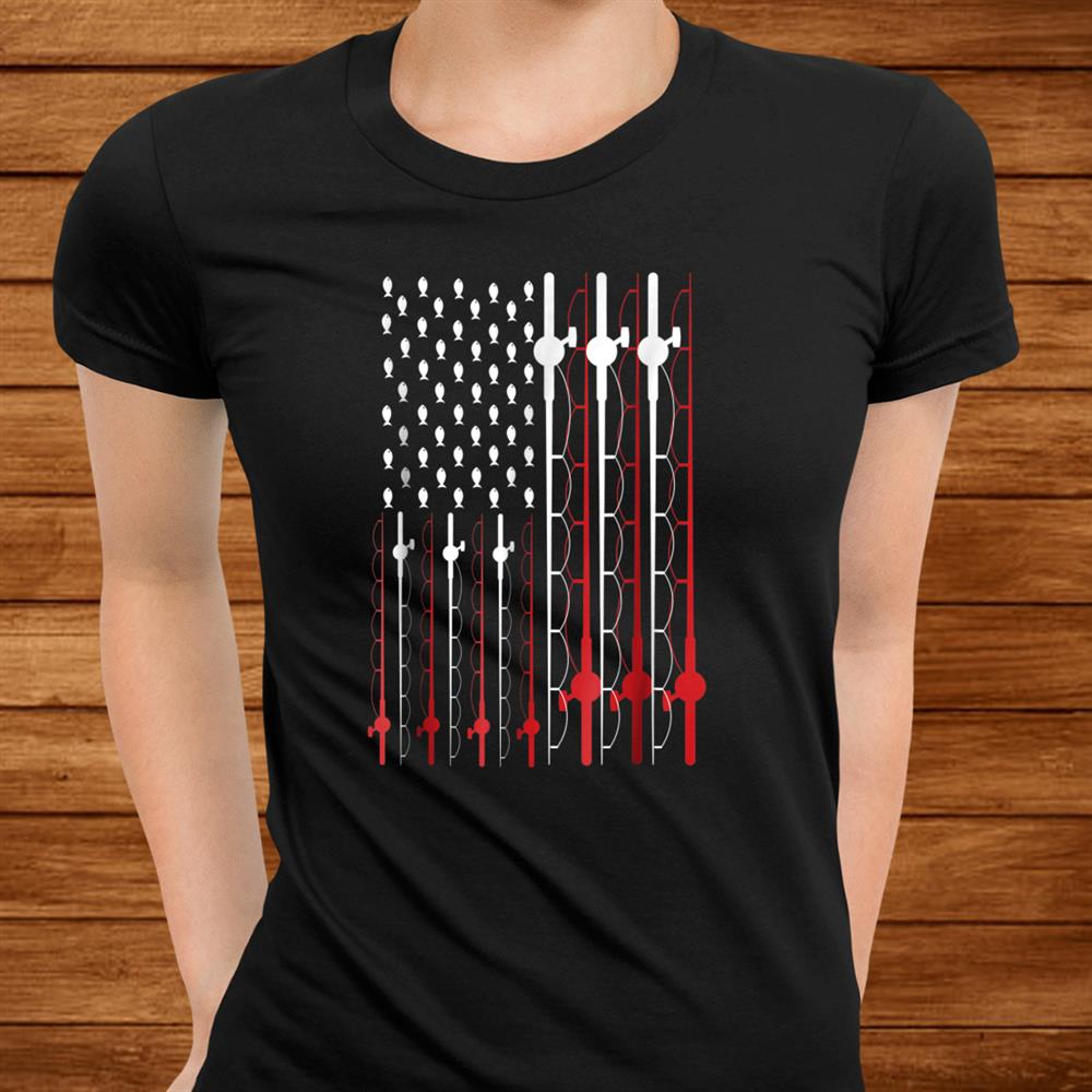 Fishing Shirt Funny American Flag Fishing Shirt