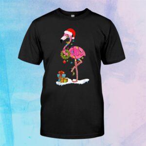 Flamingo Christmas Tree Santa Hat Xmas Light Merry Christmas Shirt