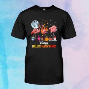 Flamingo Halloween And Merry Christmas Happy Hallothanksmas Shirt