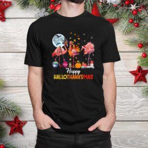 Flamingo Halloween And Merry Happy Hallothanksmas Christmas Shirt