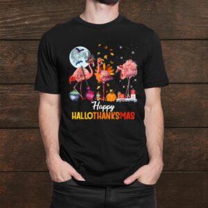 Flamingo Halloween Happy Hallothanksmas And Merry Christmas Shirt