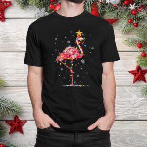 Flamingo Reindeer Santa Hat Lights Funny Christmas Shirt