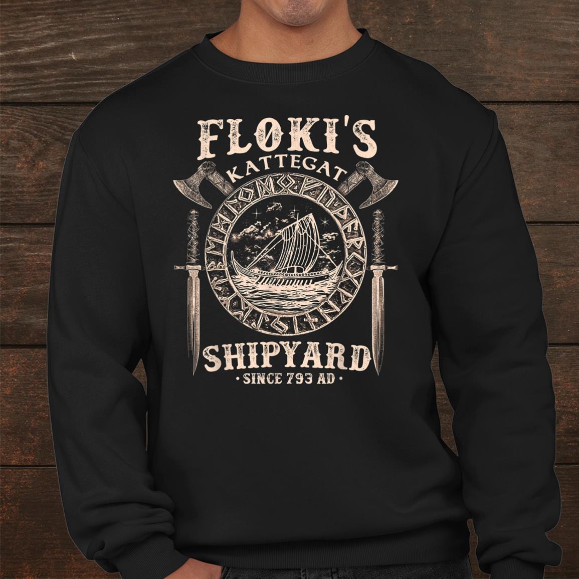 Flokis Shipyard Kattegat Viking Ship And Sword Shirt