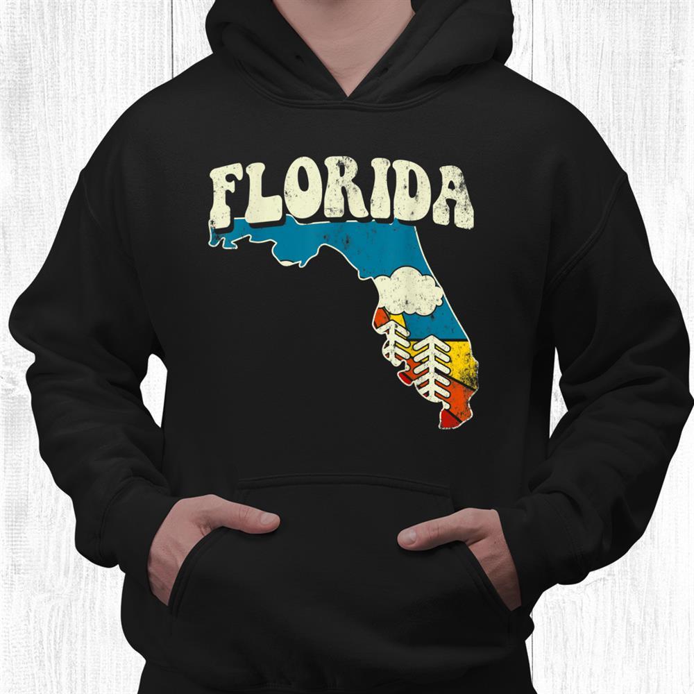 Florida Vintage State Rainbow Hippie Retro 70s Map Shirt