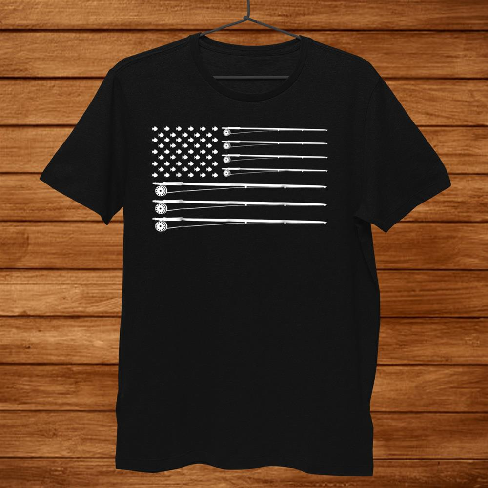 Fly Rod Fishing American Flag Shirt