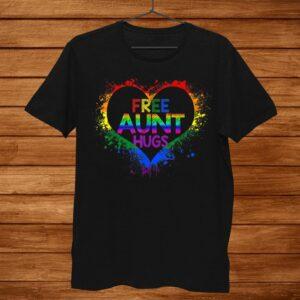 Free Aunt Hugs Lgbt Heart Gay Flag Shirt