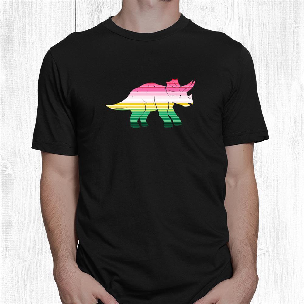 Fun Pink And Green Serape Triceratops Dinosaur Shirt