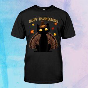Funny Black Cat Turkey Happy Thanksgiving Shirt