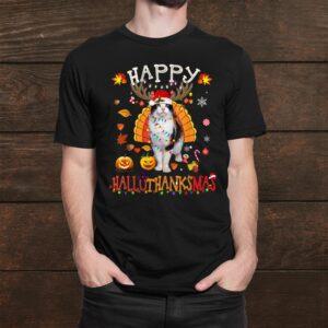 Funny Cat Happy Hallothanksmas Halloween Thanksgiving Shirt