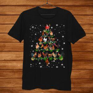 Funny Chickens Christmas Tree Tee Ornament Decor Shirt