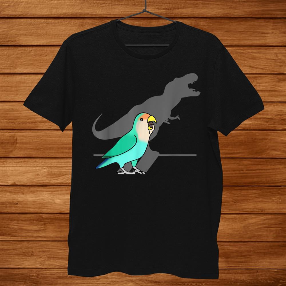 Funny Dinosaur T Rex Shadow Dutch Blue Peach Faced Lovebird Shirt