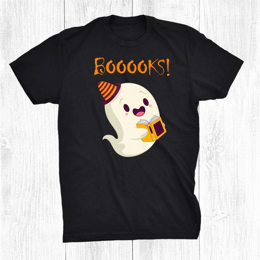 Funny Ghost Reading Book Teacher Book Lover Halloween Day Shirt