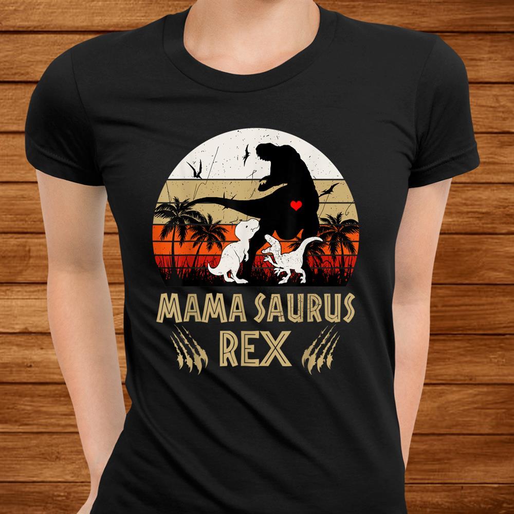 Funny Mamasaurus Rex I Funny Two Kids Mom And Dinosaur Shirt