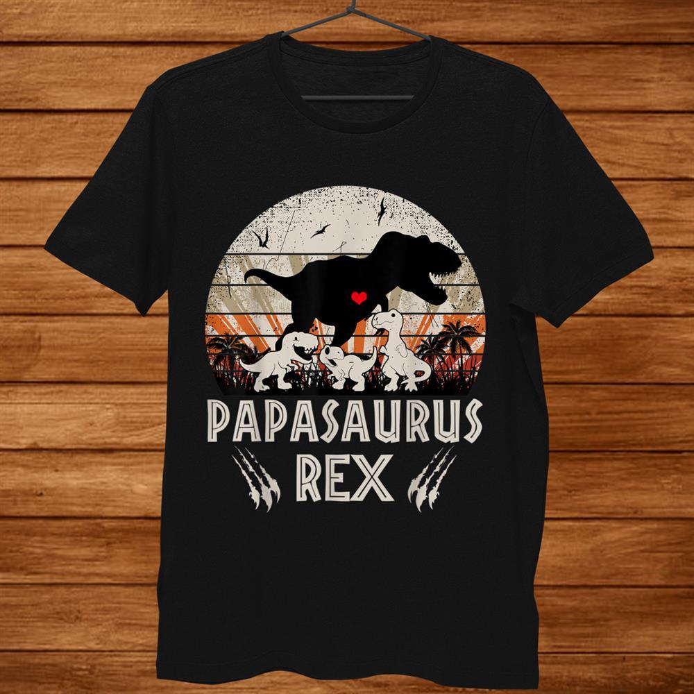Funny Papasaurus Rex Cool Two Kids Mom And Dinosaur Kids Shirt