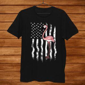 Funny Pink Flamingo Independence Day Usa American Flag Shirt