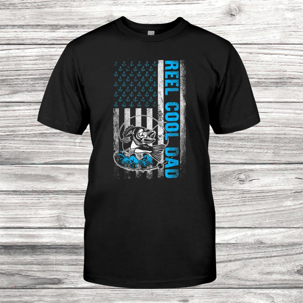 Funny Reel Cool Dad American Flag Gift Fishing Shirt