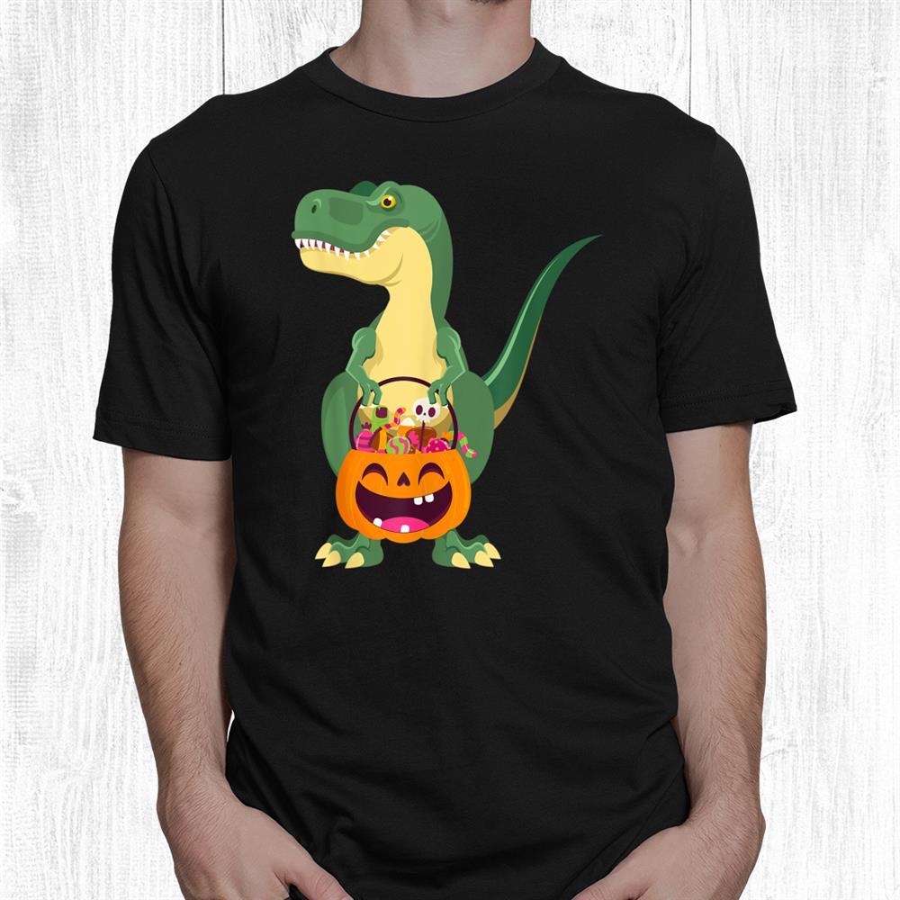 Funny T Rex Dinosaur Trick Or Treating Halloween Costume Shirt