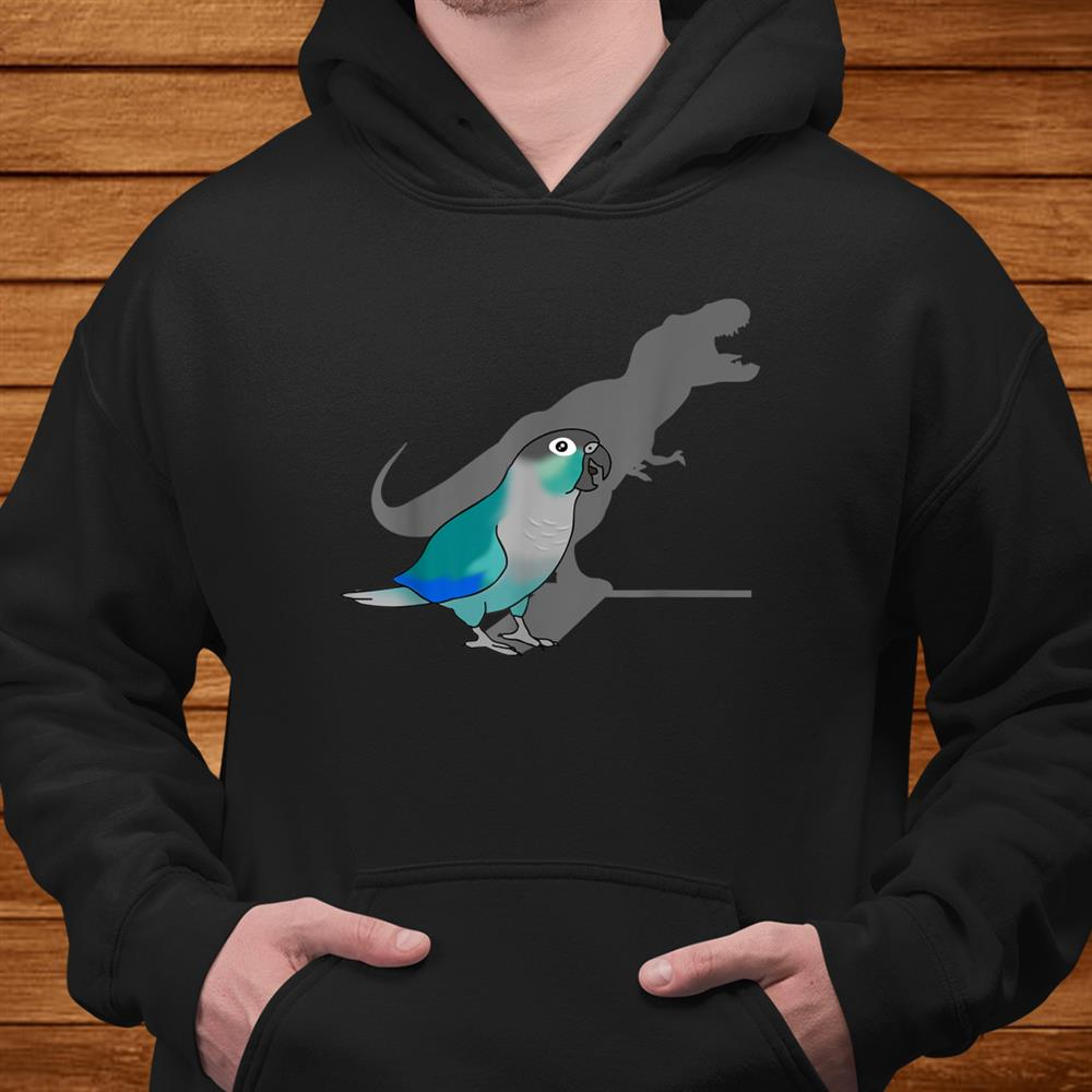 Funny Turquoise Green Cheeked Conure T Rex Dinosaur Parrot Shirt