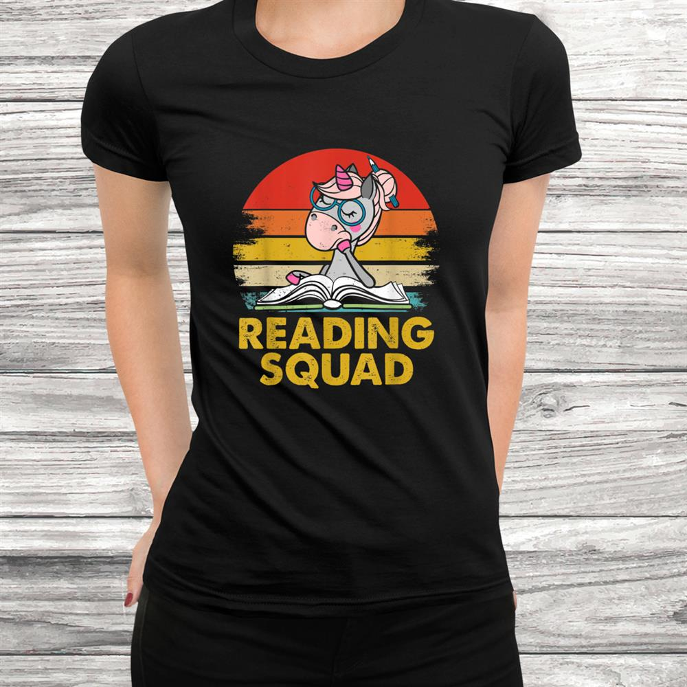 Funny Vintage Unicorn Reading Squad Book Lovers Shirt