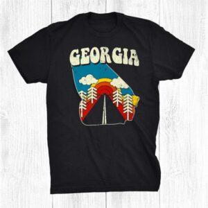 Georgia Vintage State Rainbow Hippie Retro 70s Map Shirt