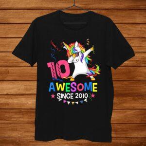 Girls0th0yr Birthday Unicorn Dabbing Awesome Since010 Shirt
