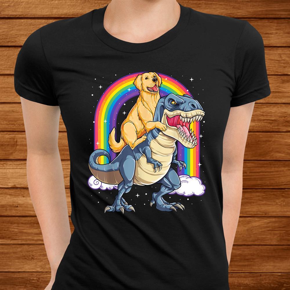 Golden Retriever Riding Dinosaur T Rex Gifts Boys Rainbow Shirt