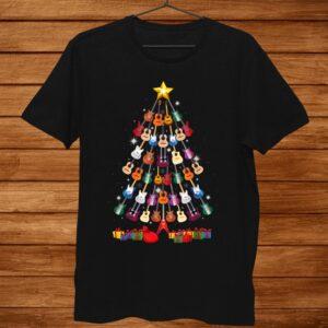 Guitar Christmas Tree Shirt Funny Guitarist Merry Xmas Shirt