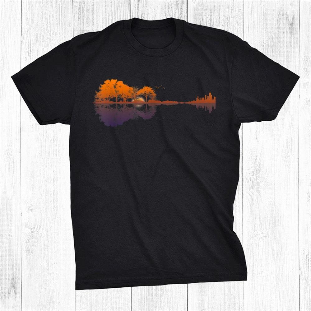 Guitar Lake Reflections Music And Guitar Lover Guitar Shirt