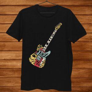 Guitar Music Genres Shirt. Retro Style Shirt