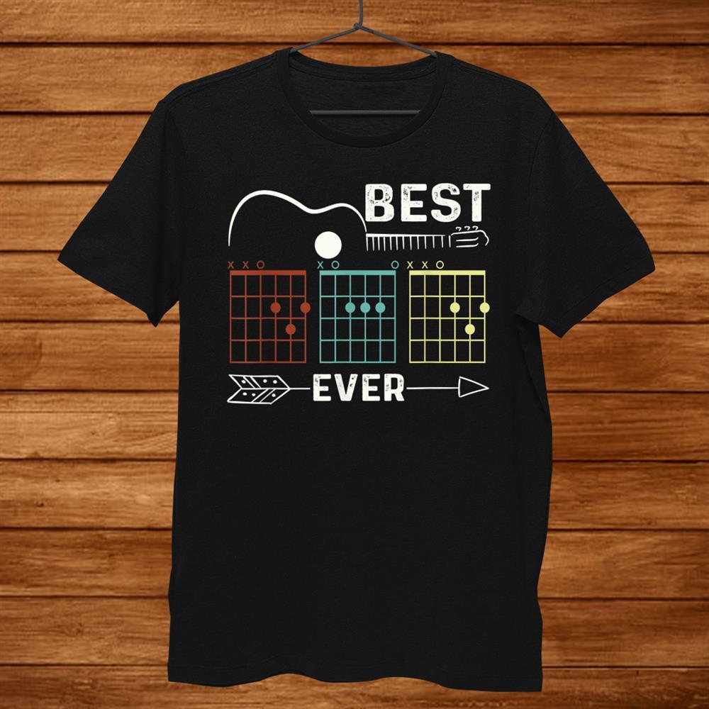 Guitarist Best Dad Ever Guitar Dad Chord Rock Music Player Shirt
