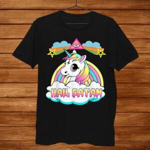 Hail Satan Unicorn Tshirt Funny Tee Rainbow Death Metal Men