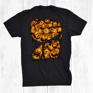 Halloween Evil Scary Pumpkin Pile Inside Costume Shirt