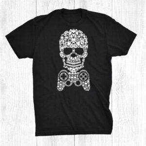Halloween Skeleton Skull Gamer Men Gaming Funny Shirt