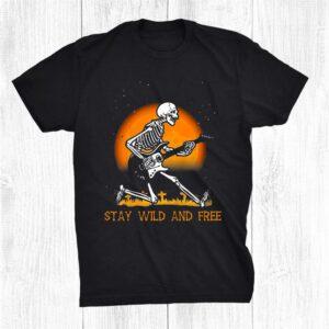 Halloween Skeletons Skull Rock Guitar Music Dancing Funny Shirt