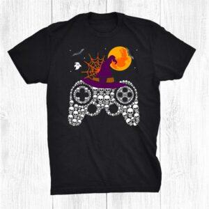 Halloween Skull Funny Gamer Witch Hat Gaming Kids Boys Men Shirt