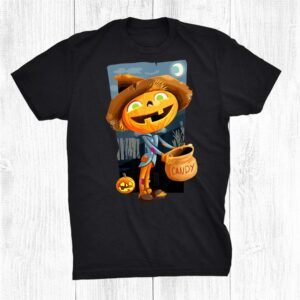 Halloween Wishes With Jack O Lantern Dressed As Scarecrow Shirt