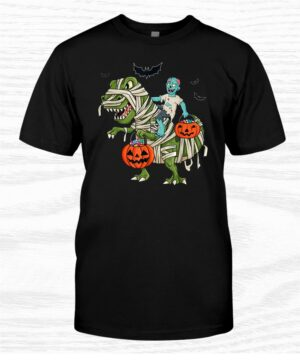 Halloween Zombie Riding T Rex Funny Boys Girls Kids Shirt