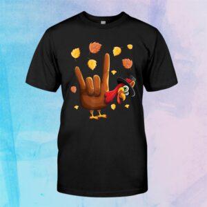 Hand Tukey American Sign Language I Love You Thanksgiving Shirt