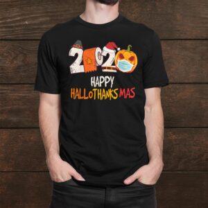 Happy Hallothanksmas Halloween Pumpkin Wearing Mask Shirt