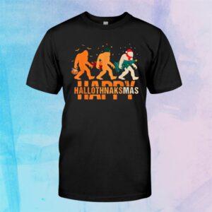 Happy Hallothanksmas Bigfoot Halloween Costume Christmas Shirt
