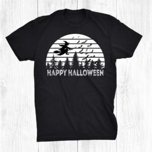 Happy Halloween Witch On Broomstick Bats Vintage Distressed Shirt