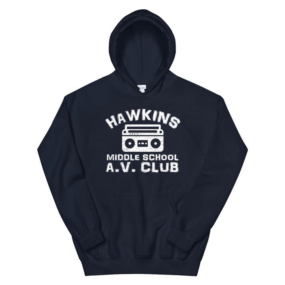 Hawkins Middle School Av Club Hoodie Vintage 80s Boom Box Hoodie