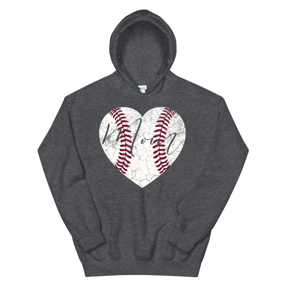 Heart Hoodie Mom Mothers Day Baseball Softball Hoodie