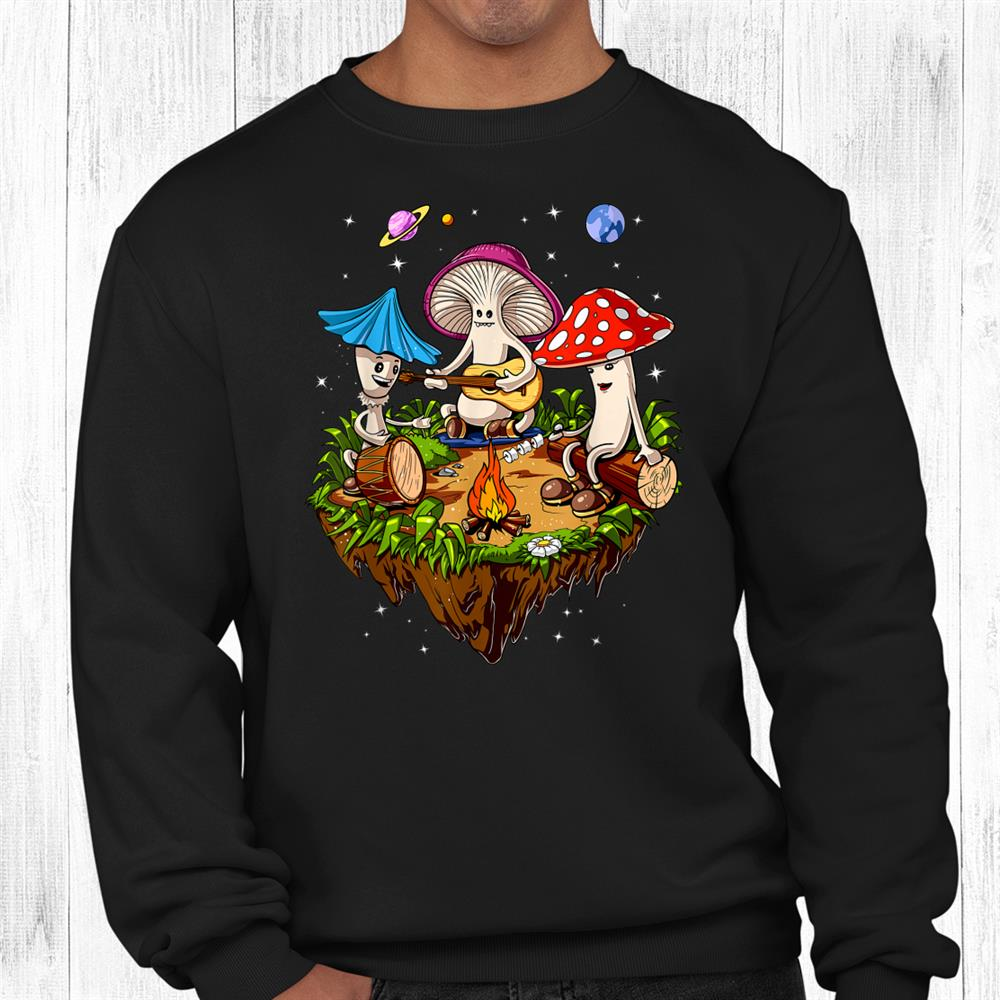 Hippie Mushrooms Camping Psychedelic Forest Fungi Festival Shirt