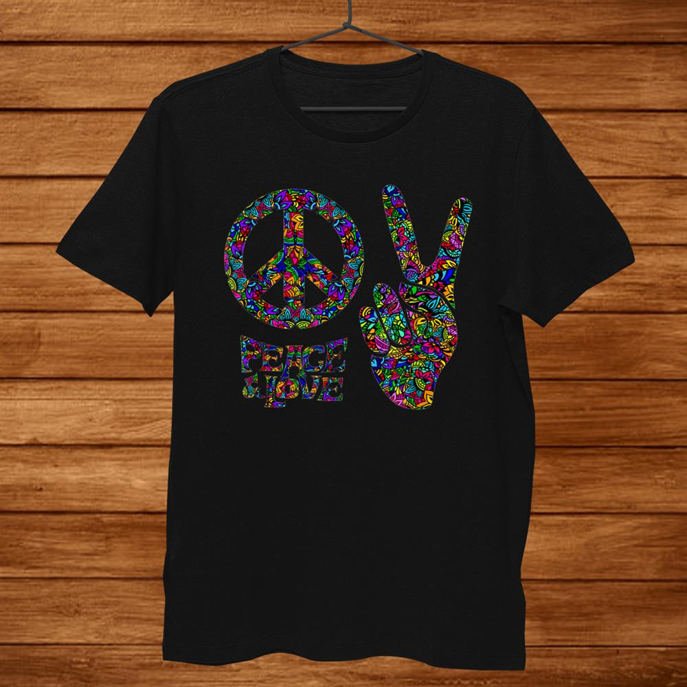 Hippie Symbols Two Fingers As A Sign Of Victory Shirt Art Men