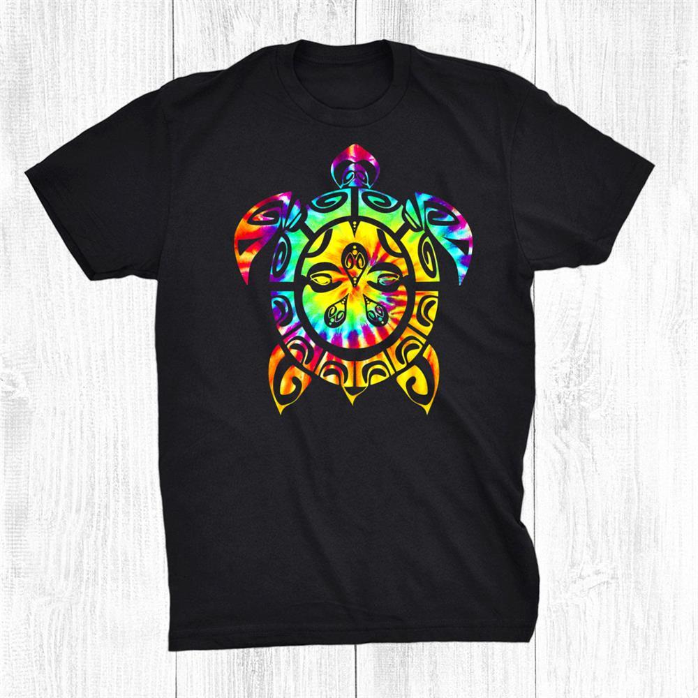Hippie Tie Dye Tee Psychedelic Sea Turtle Tribal Rainbow Shirt
